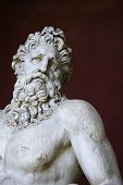 Head and shoulders shot of the River Tiber sculpture in the Vatican Museum, Rome, Italy.