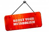 boost your metabolism, 3D rendering, vintage old red sign poster