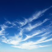 Wispy cirrus clouds in blue sky.