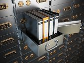 Ring binders on a safe deposit box. Confidential information concept. 3d illustration poster