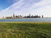 Urban cityscape skyline of Chicago, Illinois on Lake Michigan.