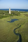 Aerial view of Old Baldy lighthouse in marshy lowlands of Bald Head Island, North Carolina.