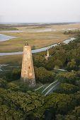 Aerial view of lighthouse on Bald Head Island, North Carolina.