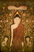 Buddha and two disciples on old temple cotton scroll from Thailand.