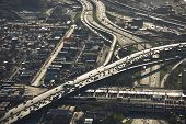 Aerial view of Interstate 90 and 94 crossing Interstate 55 in Chicago, Illinois.