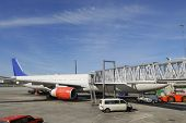 airplane and dock, airport works