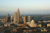 Aerial view of uptown buildings in Charlotte, North Carolina.