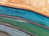 Aerial detail of tailing ponds for mineral waste in rural Utah, United States.