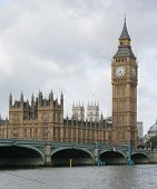 picture of big-ben  - houses of parliament and westminster bridge london - JPG