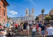 Tourists At The Spanish Steps, Rome, Italy - 18 August, 2010
