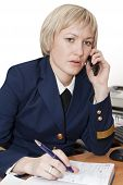 successful young business woman talking on the phone - isolated
