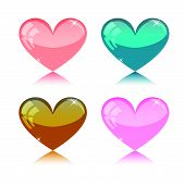 set of four colored hearts - vector
