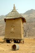 stock photo of dogon  - Vertical image of a Dogon granary in Mali - JPG