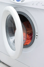 picture of washing-machine  - white stylish washing machine with open door - JPG