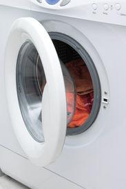 picture of washing machine  - white stylish washing machine with open door - JPG