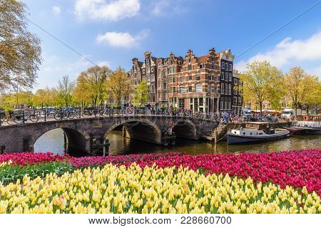 Amsterdam City Skyline At Canal