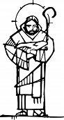 Hand Drawn Ink Illustration Of Jesus Christ Face poster