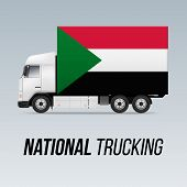 Symbol Of National Delivery Truck With Flag Of Sudan. National Trucking Icon And Sudanese Flag poster