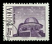 POLAND-CIRCA 1966:A stamp printed in POLAND shows image of The Silesian Planetarium also Silesian Planetarium and Astronomical Observatory is the largest and oldest planetarium in Poland, circa 1966.