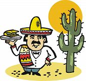 Mexican man with taco cartoon