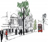Vector illustration of Whitehall, London