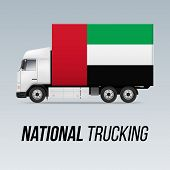 Symbol Of National Delivery Truck With Flag Of United Arab Emirates. National Trucking Icon And Flag poster