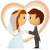 Cartoon Bride And Groom Hold Hand Each Other