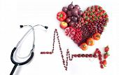 Cardiogram Icon With Heartshape Made From Food And Stethoscope poster