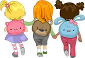 Illustration of Kids Wearing Schoolbags with Animal Designs
