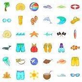 Aqua Icons Set. Cartoon Set Of 36 Aqua Vector Icons For Web Isolated On White Background poster