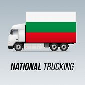 Symbol Of National Delivery Truck With Flag Of Bulgaria. National Trucking Icon And Bulgarian Flag poster