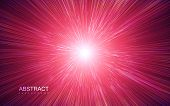 Shiny Radial Burst With Linear Particles. Vector Absrtact Illustration Of Big Bang. Background With  poster