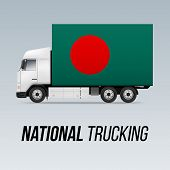 Symbol Of National Delivery Truck With Flag Of Bangladesh. National Trucking Icon And Bangladeshi Fl poster