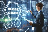 Businessman Drawing Abstract Block Chain Hologram On Blurry Office Background. Cryptography And Futu poster