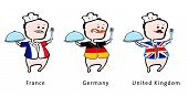 Chef of restaurant from France, Germany, UK - vector illustration