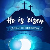 Hi Is Risen Holy Week Easter Navy Blue Banner. Easter Christian Motive, Vector Invitation To An East poster