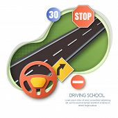 Vector Driving School Concept. Road, Car Steering Wheel, Traffic Signs Paper Cut Style Isolated Illu poster