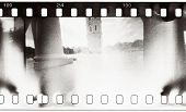 grunge film strip with light leaks