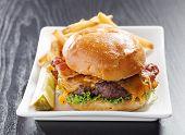 Bacon cheeseburger meal shot with selective focus