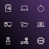 Hardware Icons Line Style Set With Folder, Router, Microprocessor And Other Web Elements. Isolated   poster