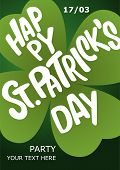 Happy St. Patricks Day Poster. Lettering Happy St. Patricks Day Inscribed In A Shamrock. Patricks poster