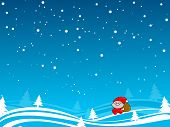 Santa Walk Under The Snow Blue Sky