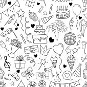 Seamless Pattern Of Hand Drawn Doodle Cartoon Objects And Symbols On The Birthday Party. Design Holi poster