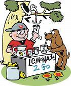 Vector cartoon of boy selling lemonade