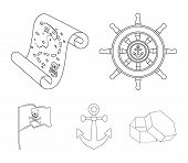 Pirate, Bandit, Rudder, Flag .pirates Set Collection Icons In Outline Style Vector Symbol Stock Illu poster