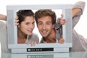 Couple in an empty television screen