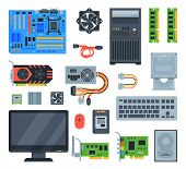 Computer Accessories Vector Pc Equipment Motherboard Memory And Keyboard Illustration Computing Set  poster