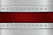 Metal Texture With Brushed Iron Plate With Rivets And Red Perforation. Vector 3d Illustration poster