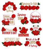 Spring Seasonal Holidays Icon Set. Spring Flowers Of Roses Floral Design. Concept Of Love Spring And poster