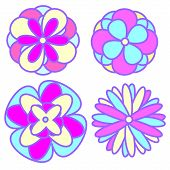 Abstract Flowers In Pastel Goth Colors. Decorative Design Elements poster